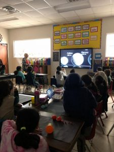 Students learning about the solar system in class.
